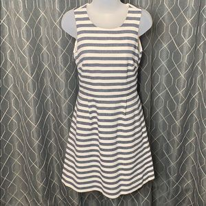 JCrew Striped Pleated Shift Dress